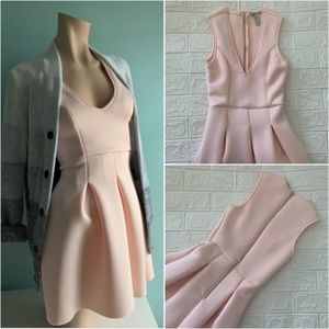 Dresses & Skirts - Pastel Pink Zippered Back Pleated Dress